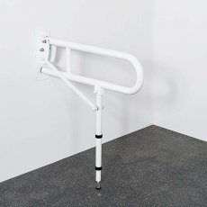 Nymas NymaPRO Lift and Lock Hinged Grab Rail with Leg 800mm Length - White