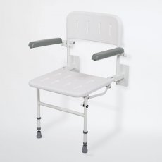 Nymas NymaPRO Wall Mounted Shower Seat with Legs Back and Arms - White