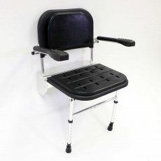 Nymas Premium Wall Mounted Padded Shower Seat with Legs Back and Arms - Black