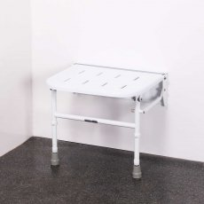 Nymas Premium Wall Mounted Shower Seat with Legs - White