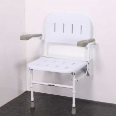 Nymas Premium Wall Mounted Shower Seat with Legs Back and Arms - White