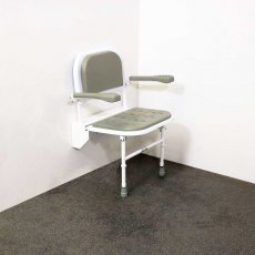 Nymas Premium Wall Mounted Padded Shower Seat with Legs Back and Arms - Grey