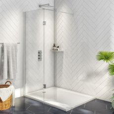 Orbit A8 Wet Room Glass with Deflector Panel (700mm + 275mm) Wide - 8mm Clear Glass