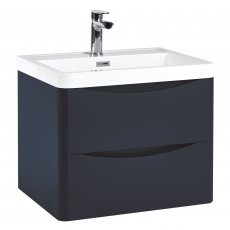 Orbit Contour Wall Hung 2-Drawer Vanity Unit with Basin 600mm Wide - Indigo Blue