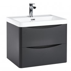 Orbit Contour Wall Hung 2-Drawer Vanity Unit with Basin 600mm Wide - Graphite Grey