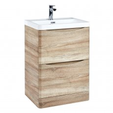 Orbit Contour Floor Standing 2-Drawer Vanity Unit with Basin 600mm Wide - Driftwood Oak
