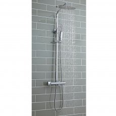 Orbit Curvo Thermostatic Bar Mixer Shower with Shower Kit and Fixed Head - Chrome
