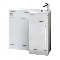 Orbit Life RH Combination Unit with Sculptured Basin 900mm Wide - Gloss White