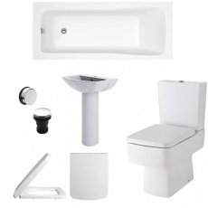 Bliss Complete Bathroom Suite with 1700mm x 750mm Square Single Ended Bath