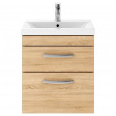 Premier Athena Wall Hung 2-Drawer Vanity Unit with Basin 2 Natural Oak - 500mm Wide