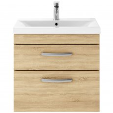 Premier Athena Wall Hung 2-Drawer Vanity Unit with Basin-3 600mm Wide - Natural Oak