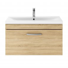 Premier Athena Wall Hung 1-Drawer Vanity Unit with Basin-3 800mm Wide - Natural Oak