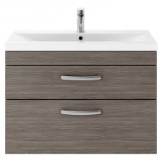 Premier Athena Wall Hung 2-Drawer Vanity Unit with Basin 2 Brown Grey Avola - 800mm Wide