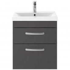 Premier Athena Wall Hung 2-Drawer Vanity Unit Basin-2 500mm Wide - Gloss Grey