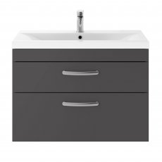 Premier Athena Wall Hung 2-Drawer Vanity Unit with Basin-3 800mm Wide - Gloss Grey