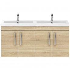 Premier Athena Wall Hung 4-Door Vanity Unit with Double Basin 1200mm Wide - Natural Oak
