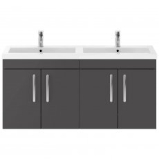 Premier Athena Wall Hung 4-Door Vanity Unit with Double Basin 1200mm Wide - Gloss Grey