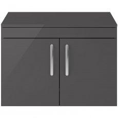 Premier Athena Wall Hung 2-Door Vanity Unit and Worktop 800mm Wide - Gloss Grey