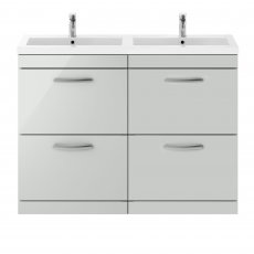 Premier Athena Floor Standing 4-Drawer Vanity Unit with Double Basin 1200mm Wide - Gloss Grey Mist