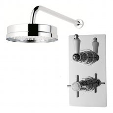 Nuie Beaumont Twin Shower Valve Rectangular Plate with Fixed Head and Arm