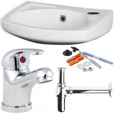 Nuie Brisbane Wall Hung Basin with Tap Bottle Trap and Fixing - 350mm W