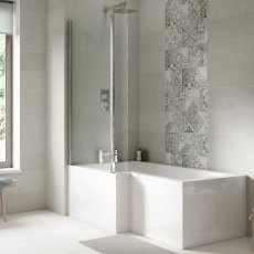 Nuie Square L-Shaped Shower Bath 1700mm x 700mm/850mm Left Handed