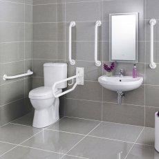 Nuie Close Coupled Doc M Pack, 5 x Grab Rails and Mixer Tap, White