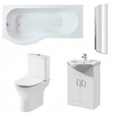 Premier Freya Complete Furniture Suite with Vanity Unit and P-Shaped Shower Bath 1700mm LH