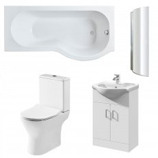 Premier Freya Complete Furniture Suite with Vanity Unit and P-Shaped Shower Bath 1700mm RH