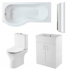 Premier Freya Complete Furniture Suite with 600mm Vanity Unit and P-Shaped Shower Bath 1700mm LH
