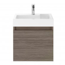 Premier Merit Wall Hung 1-Door Vanity Unit with L-Shaped Basin 500mm - Brown Grey Avola