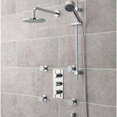 Nuie Quest Concealed Shower Mixer with Slider Rail Kit + Fixed Head and Body Jets - Chrome