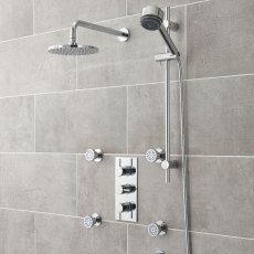 Nuie Quest Rectangular Concealed Shower Mixer with Shower Kit + Fixed head and Body Jets