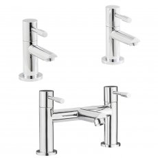 Nuie Series 2 Basin Taps and Bath Filler Tap Pillar Mounted, Chrome