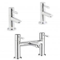 Premier Series 2 Basin Taps and Bath Filler Tap Pillar Mounted, Chrome