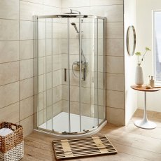 Nuie Shower Enclosure Pack - 900mm x 900mm Quadrant - Twin Shower and Fixed Head