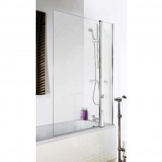 Premier Square Bath Screen with Panel, 1435mm High x 985-1005mm Wide, 6mm Glass