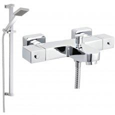 Nuie Wall Mounted Square Thermostatic Bath/Shower Mixer Tap, Slider Rail Kit, Chrome