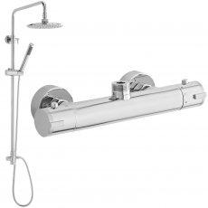 Nuie Minimalist Thermostatic Top Outlet Bar Shower Valve + Rigid Riser Kit - Chrome