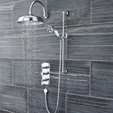 Premier Traditional Triple Concealed Shower Valve, Slide Rail Kit, Fixed Shower Head - Chrome