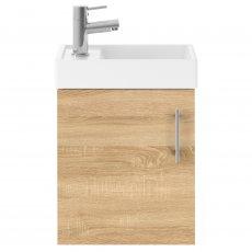 Nuie Vault Wall Hung 1-Door Vanity Unit with Basin Natural Oak - 400mm Wide