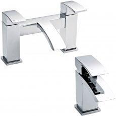 Nuie Vibe Mono Basin Mixer Tap and Bath Filler Tap Pillar Mounted, Chrome