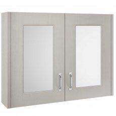 Premier York 2 Door Mirror Cabinet 800mm Wide - Grey Woodgrain