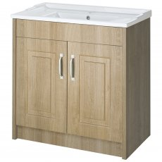Premier York Floor Standing Vanity Unit with Basin 800mm Wide Gladstone Oak 1 Tap Hole