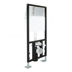 Prestige In Wall Hung Toilet Frame System 1.12m with Dual Flush Cistern and Chrome Flush Plate