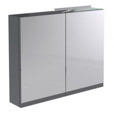 Prestige Cruz Mirror Cabinet with Light & Shaver Socket 600mm Wide Gloss Grey