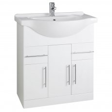 Prestige Evolve Bathroom Vanity Unit & Basin 750mm W White 1 Tap Hole