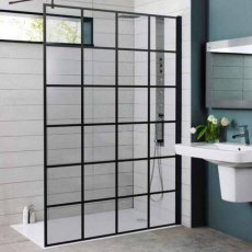 Prestige Krittal Wet Room Screen with Support Bar 900mm Wide - 8mm Glass