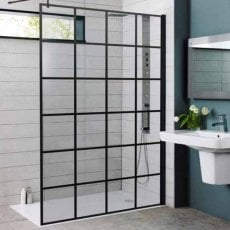 Prestige Krittal Wet Room Screen with Support Bar 1200mm Wide - 8mm Glass