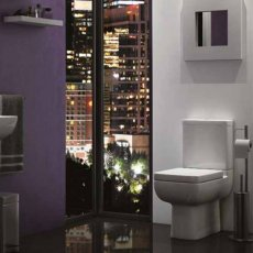 Prestige Options Flush to Wall Close Coupled Toilet Push Button Cistern Premium - Soft Close Seat